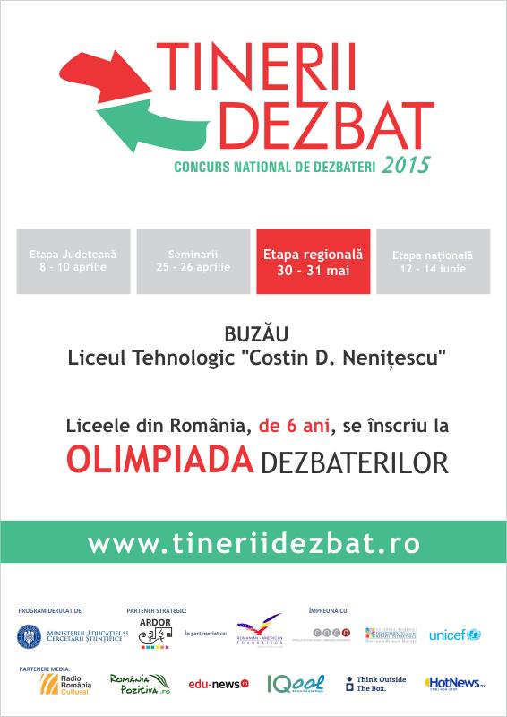 """Regionala de la Buzău a Concursului Naţional """"Tinerii Dezbat"""""""
